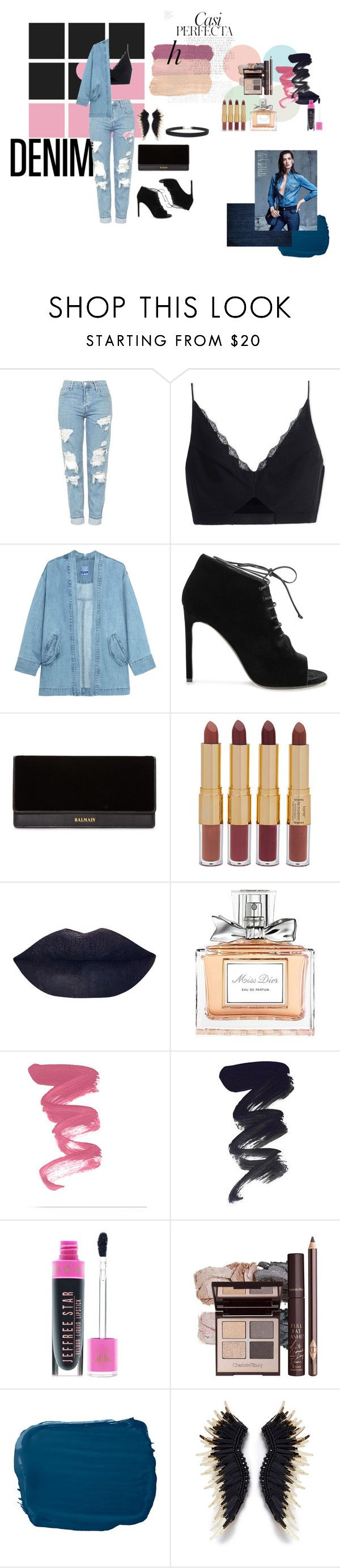 """Untitled #10"" by amirahsyanti ❤ liked on Polyvore featuring Topshop, Versace, Steve J & Yoni P, Yves Saint Laurent, Balmain, tarte, Christian Dior, Jeffree Star, Ralph Lauren and Whiteley"