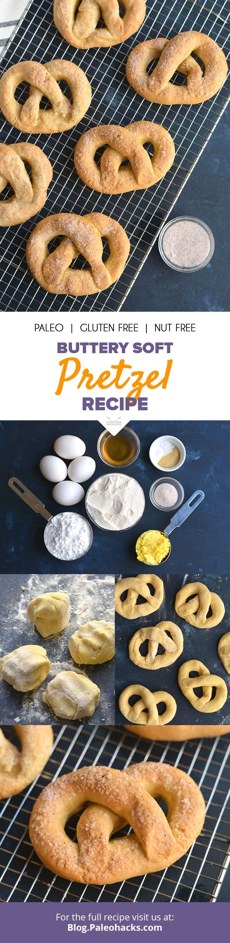 These classic snacks are boiled and then baked for a grain-free  pretzel that's slightly crunchy on the outside and perfectly soft on the  inside. Get the full recipe here: http://paleo.co/softpretzelrcp