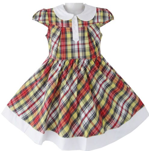 Girls Dress Plaids Tartan Collar Uniform School Sundress Kids Clothes SZ 2-8 NWT