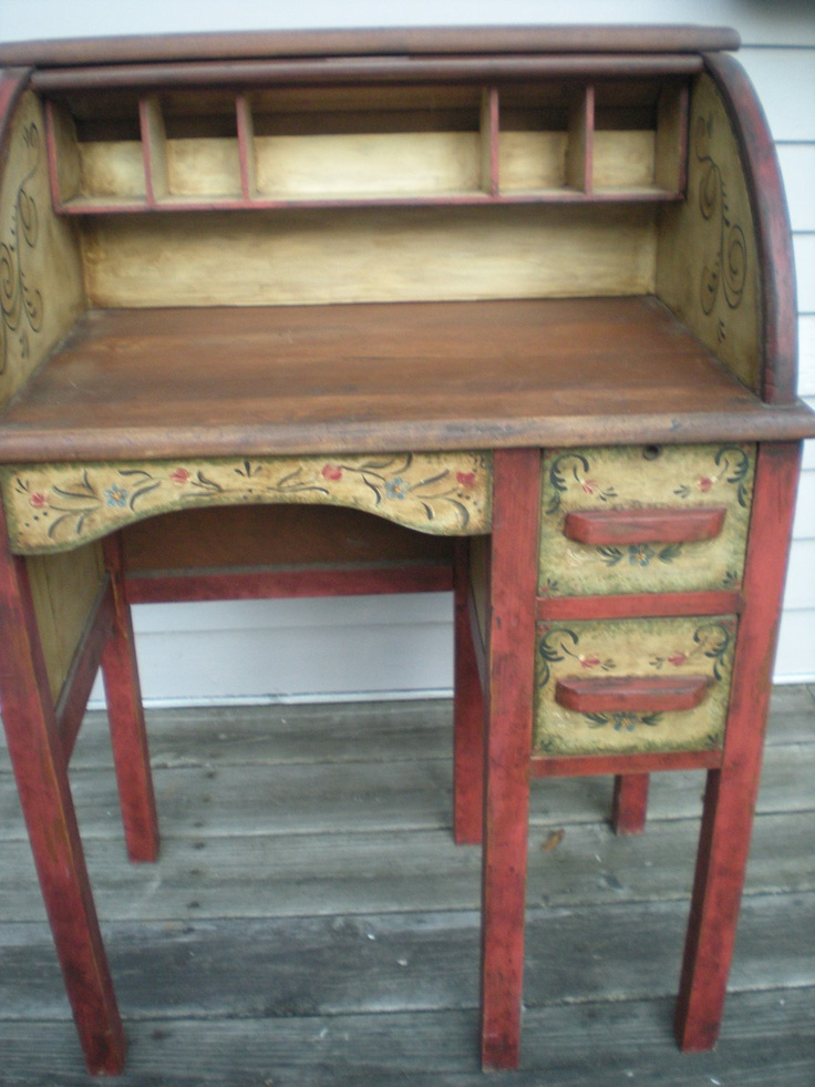 small roll-top desk and stool