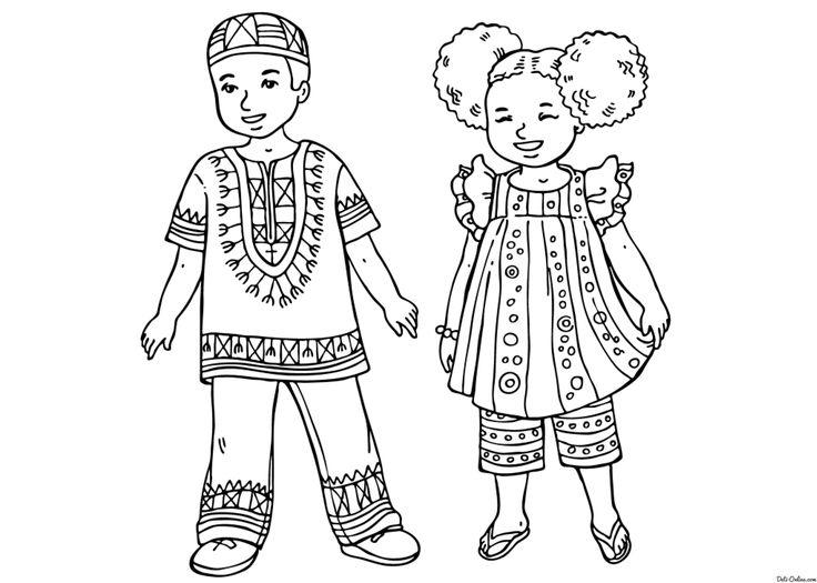 Раскраска Африканские дети