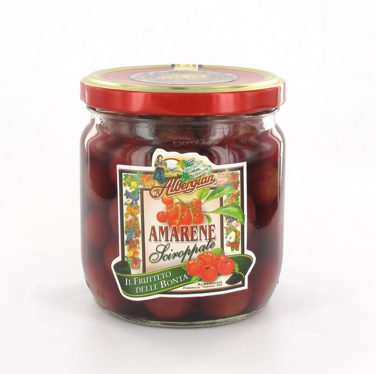 Such as fruit prepared by grandmother: black cherries in syrup. The taste of italian food. http://www.albergian.it/shop/frutta-sciroppata/amarene-sciroppate/