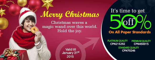 ♀ Wish You All a Merry Christmas and a Happy New Year 2015 in Advance ♀ Order Now & Get Amazing 50% Discount on Each Order ☛