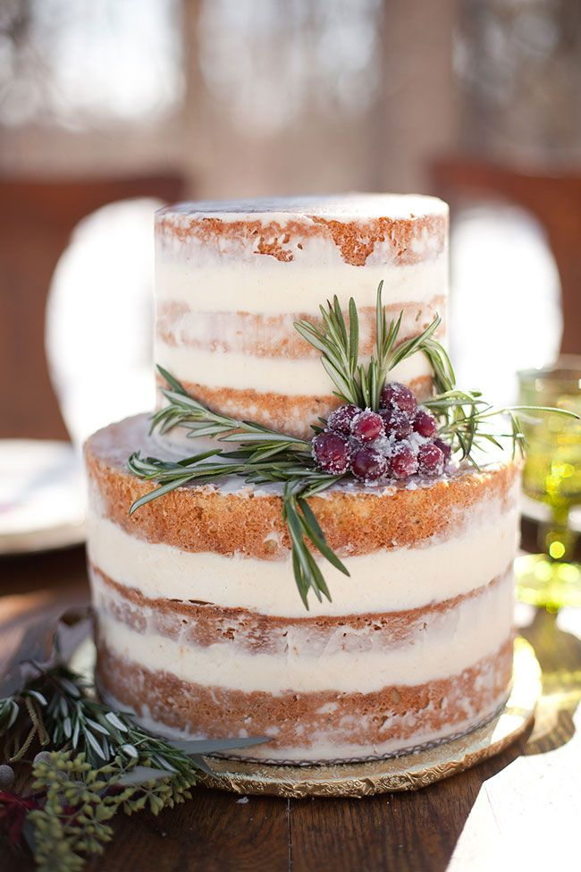 Glazed Naked Cake | Rustic Chic Outdoor Winter Wedding In Kensington Park Michigan  | Photograph by Spencer Studios See The Full Story at http://storyboardwedding.com/rustic-chic-outdoor-winter-wedding-kensington-park-michigan/