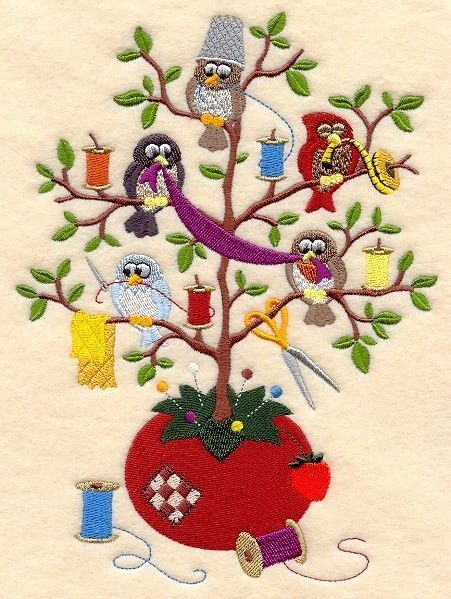 Sewing Tweet Machine Embroidered Quilt Block, Big, New, So Cute