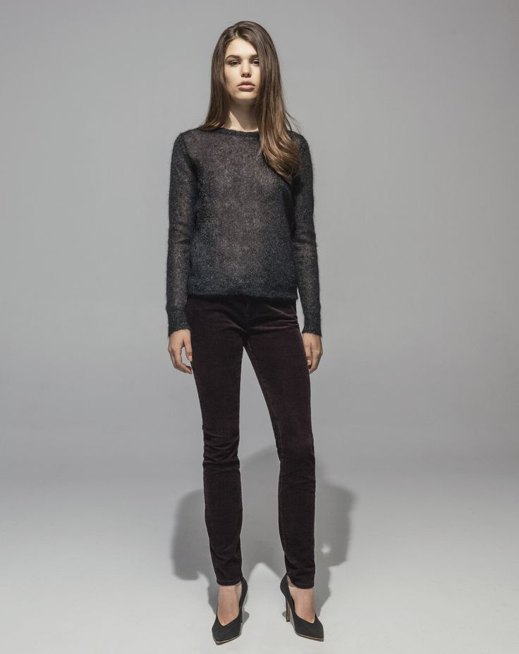Metallic Mohair Sweater (Black) 16 Wale Stretch Cord 5 Pocket Skinny (Plum)