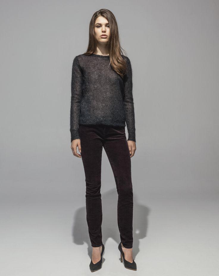 Metallic Mohair Sweater (Black) 16 Wale Stretch Cord 5 Pocket Skinny (Plum)