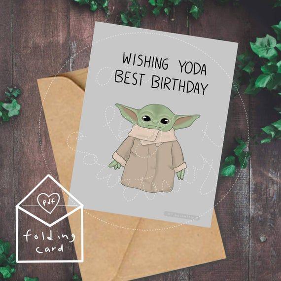 Digital Download Birthday Card Baby Yoda Birthday Card Etsy Yoda Card Download Birthday Cards Starwars Birthday Card