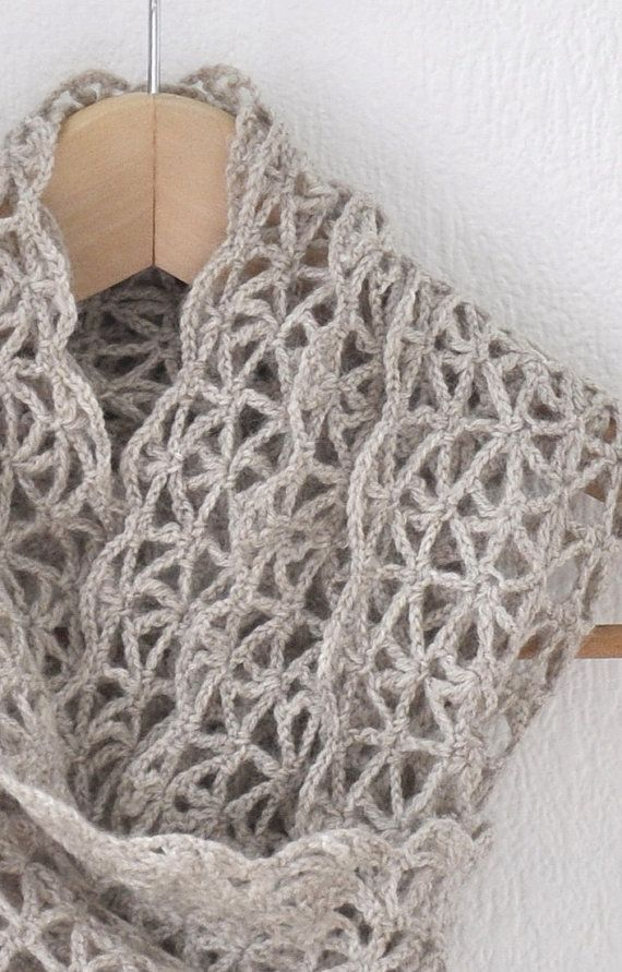Lace Scarf   Wool  Oatmeal  Chochet by woolnwhite on Etsy  Length 186cmx21cm  75% super wash wool 25 polyamide