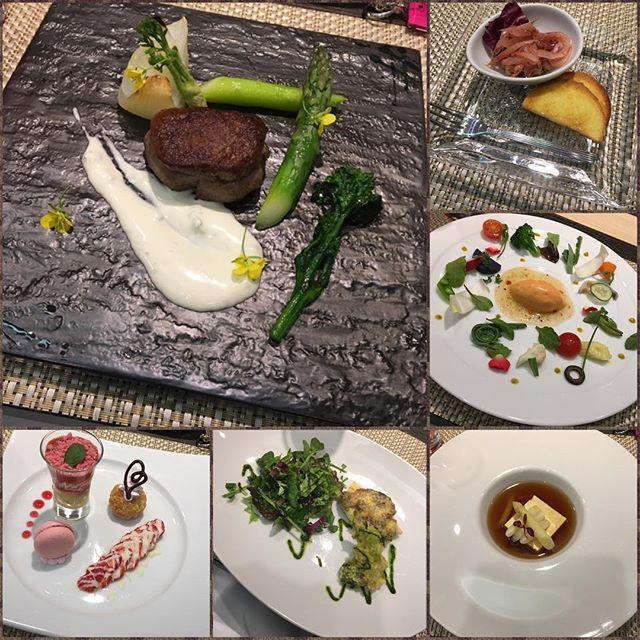 昨日の#ディナー ✨ #フレンチ料理 の#フルコース . 全部美味しかったです☺️✨ . #野菜 #魚 #肉 #デザート #苺 #晩御飯 #おいしいもの食べたい #紅や #長野県 #諏訪湖 #ホテル #温泉 #卓球できなかった # #旅行 #社員旅行
