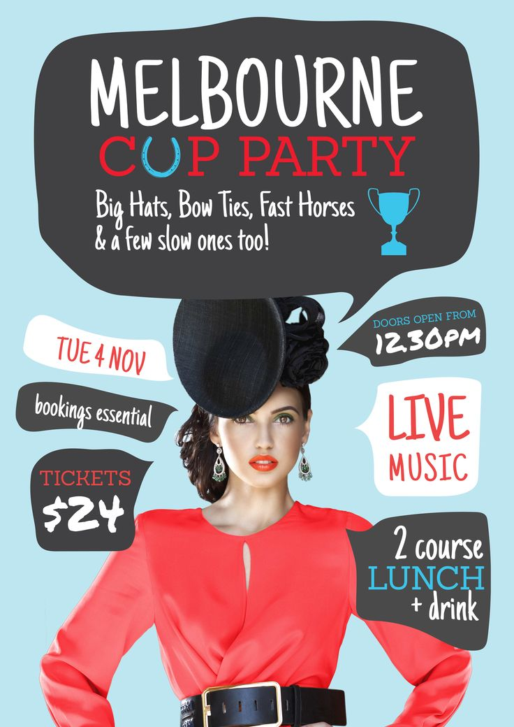 Free Melbourne Cup / Spring Racing party template for your event this year! Use this existing template or customise it as much as you like. Visit easil.com to get started!