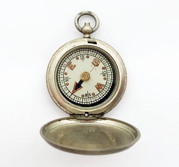 1940s Vintage British MK VI Pocket Compass / Hunter Compass by