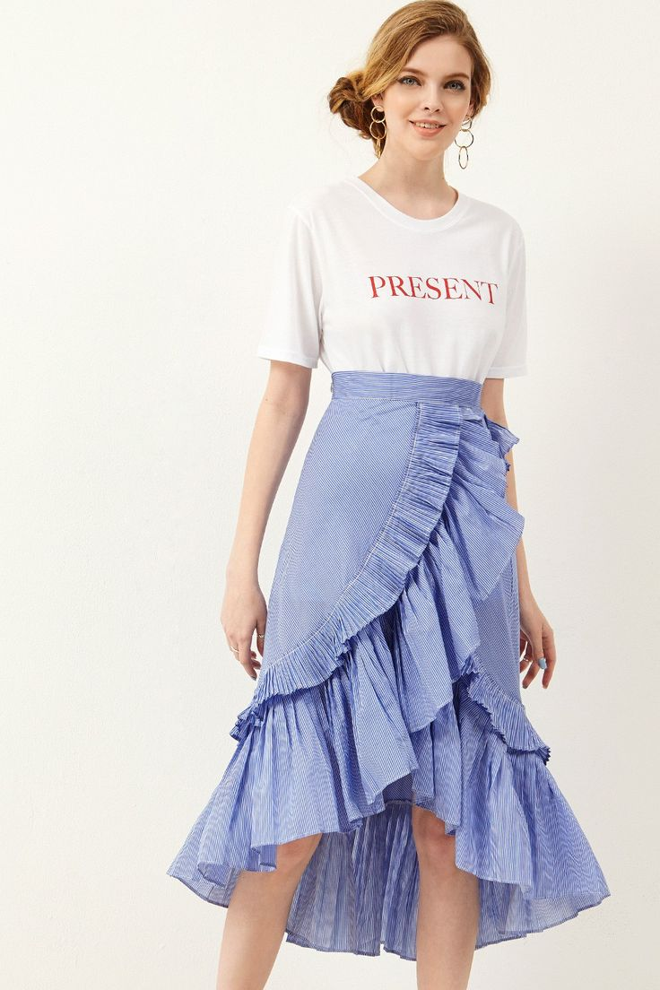 Carrie Ruffle Unbalance Skirt Discover the latest fashion trends online at storets.com