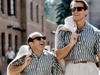 Arnold Schwarzenegger, Danny DeVito - met both on set of Twins filming exteriors in Van Nuys, CA, 1987 or 88..