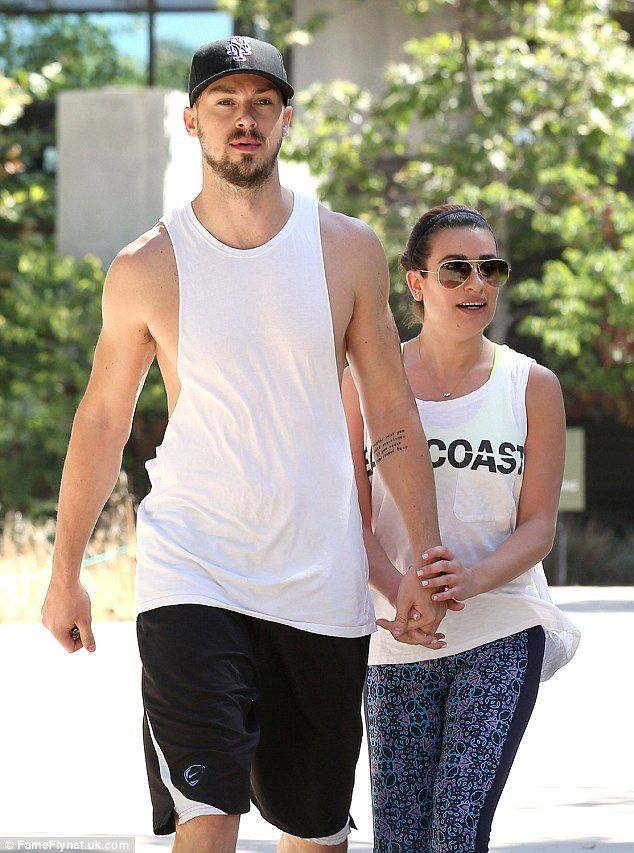 Getting physical: Lea Michele and boyfriend Matthew Paetz headed for a joint hike at TreeP...