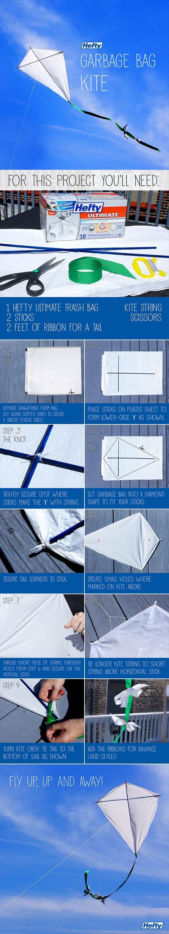 Make your own kite out of a Hefty® bag!