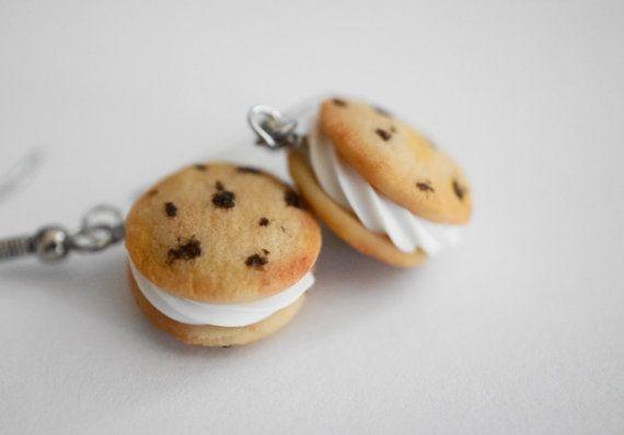 Cookie Ice Cream Sandwich Earrings, Miniature Food Jewelry