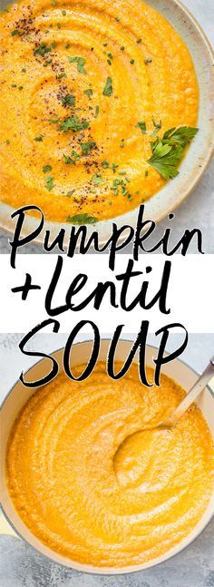 This vegan pumpkin and lentil soup is hearty, healthy, and comforting. A delicious fall soup idea! #pumpkinsoup