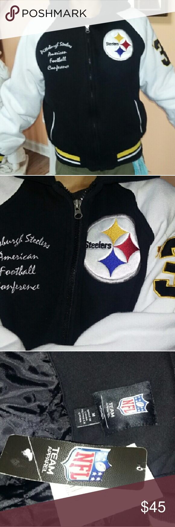 Pittsburgh Steelers Jacket  SZ M This jacket is gorgeous...sweatshirt material with a nice quilted lining....the hood unzips to lay flat to show off the team logo... ..numbers on the sleeves and embroidered on the front.. Pittsburgh Steelers  American Football  Conference. NFL  Officially liscensed product. Jackets & Coats
