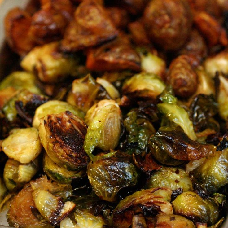 Bacon Olive Oil Braised Brussel Sprouts