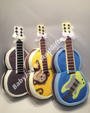 Guitar Diaper Cake - 9990109 - Neutral - Diaper Cakes - by Babyfavorsandgifts