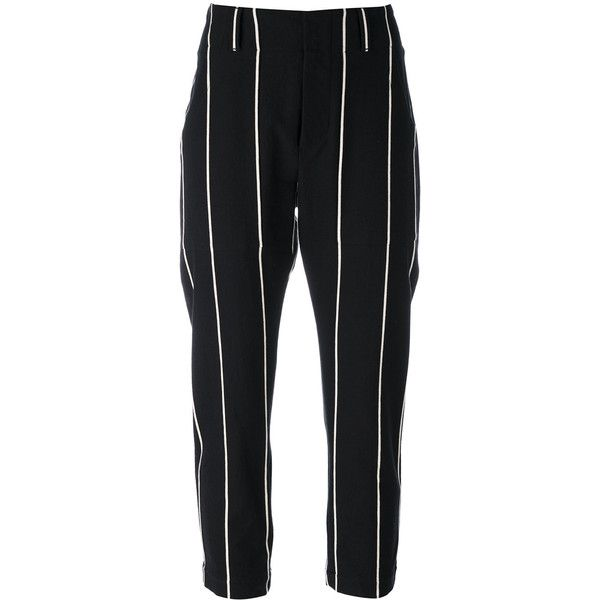 Brunello Cucinelli striped cropped trousers ($1,095) ❤ liked on Polyvore featuring pants, capris, black, striped trousers, brunello cucinelli, cropped pants, cropped trousers and cotton crop pants