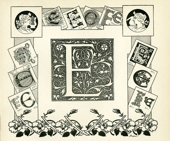 Antique French print from the Nouveau #Larousse Illustrated published in Paris between 1897 to 1907. This is the original print, not a copy. The reverse side is printed. Fra... #abc #letter #alphabet #initial #calligraphy #ephemera #larousse