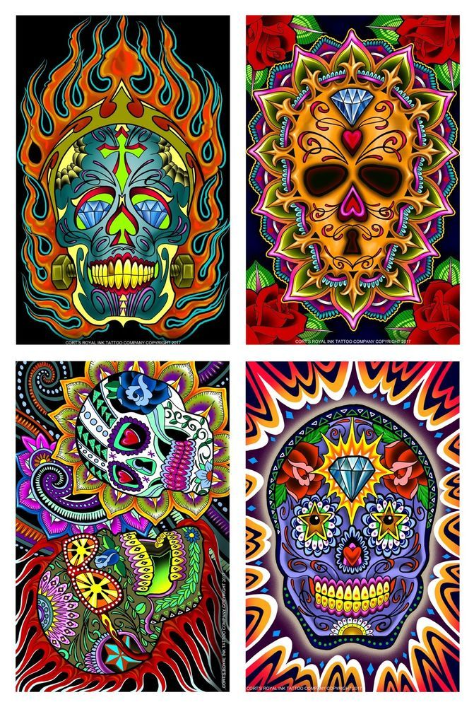 4 Day Of The Dead Tattoo Flash Laser Prints 11x17 Laminated New For 2018 Ebay Flash Tattoo Prints Poster Prints