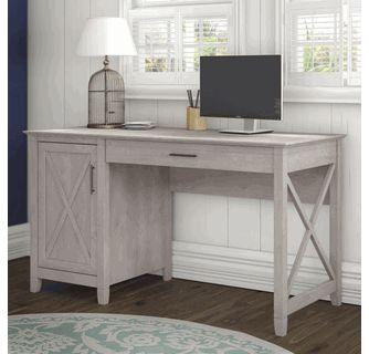 Key West 54W Single Pedestal Desk in Washed Gray - Bush Furniture KWD154WG-03