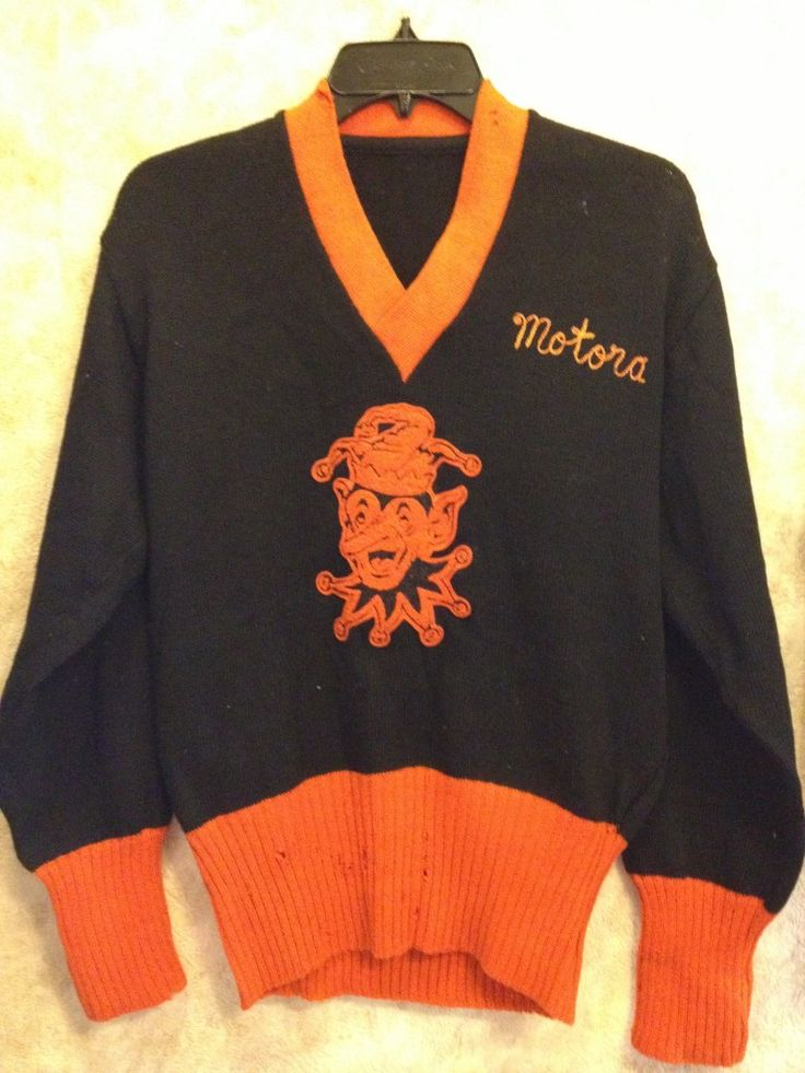 Jesters sweater front. NY 1950's Sweater club, Fashion