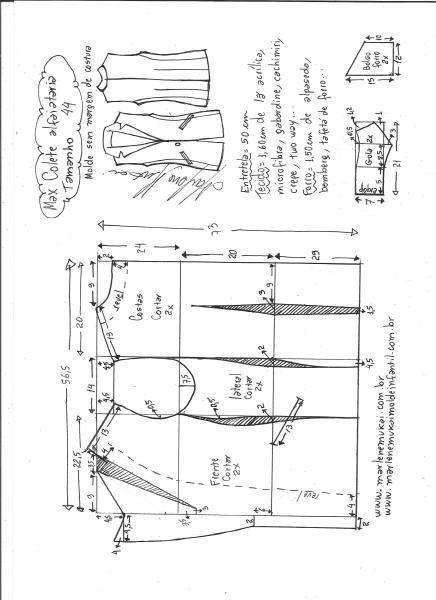 Max colete alfaiataria | DIY - molde, corte e costura - Marlene Mukai