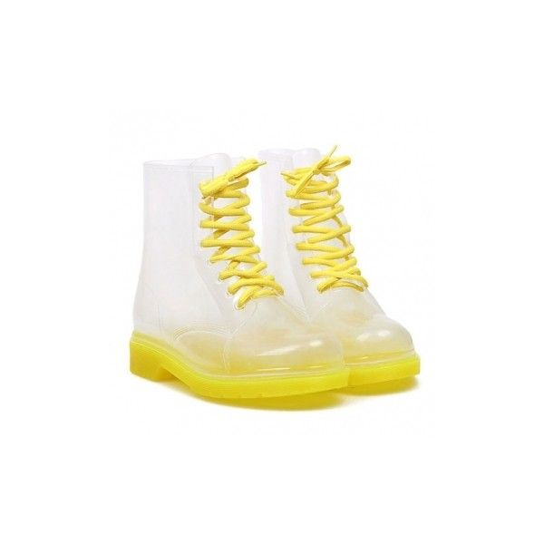 Candy Colorful Crystal Clear Flat Heel Rain Boots (£13) ❤ liked on Polyvore featuring shoes, boots, wellington boots, flats boots, clear rain boots, wellies boots y flat pumps