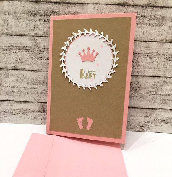 Glückwunschkarten - Babykarte PRINZESSIN Kranz - ein Designerstück von POMMPLA bei DaWanda
