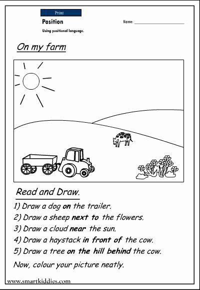 Worksheet For Kindergarten In English In 2020 Positional Words Kindergarten Language Worksheets Kindergarten Worksheets