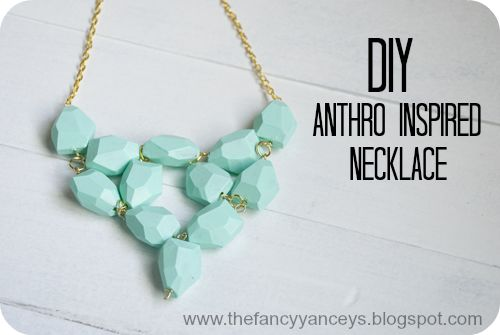 Vintage Romance: DIY Anthro Inspired Seafoam Necklace - these beads were originally lime green.  Painted with gesso and acrylic craft paint.