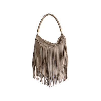 Alexis Italian Fringed Taupe Suede Leather Hobo Satchel Bag - £49.99