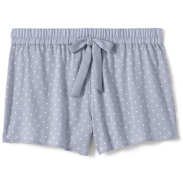 Lands' End Women's Petite Sleep Shorts ($29) ❤ liked on Polyvore featuring intimates, sleepwear, pajamas, grey, lands' end, lands end pjs, petite pyjamas, petite pajamas and petite sleepwear