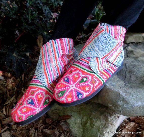 Hmong Retro Embroidered Batik Ankle Bootie | Siamese Dream Design / Etsy