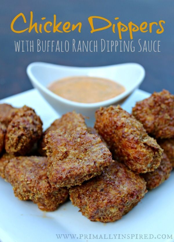 Bite size chicken pieces meet a buffalo ranch dipping sauce and wow is it good! Paleo and Gluten Free. - Recipe: Grain Free Chicken Dippers