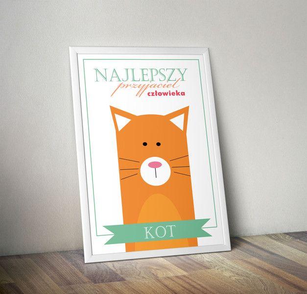 Plakat+NAJLEPSZY+PRZYJACIEL+CZŁOWIEKA+(KOT)+-+A3+w+Migot+Studio+na+DaWanda.com