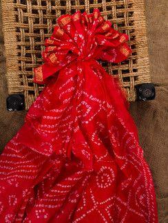 Red silk bandhej saree