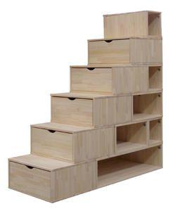 Escalier Cube de rangement Hauteur 175 cm Brut - Abc-meubles.com