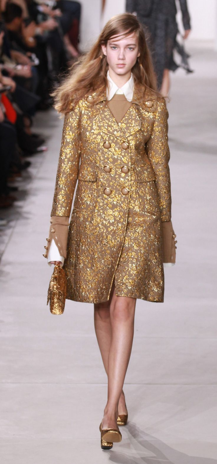 Michael Kors gold brocade dress NYFW 2016-2017