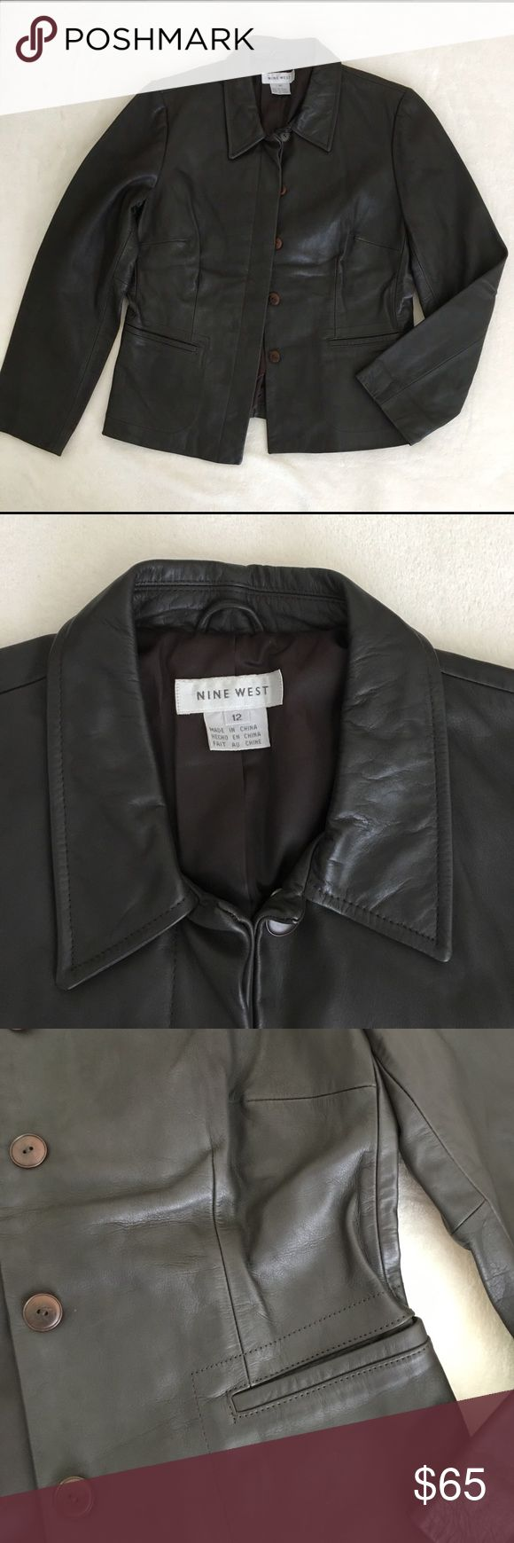 100% Real Leather Jacket by Nine West Dark brown leather jacket by Nine West. 100% genuine leather. Lined. Worn once. Excellent condition. Looks and feels brand new. Nine West Jackets & Coats Blazers