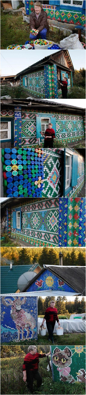 O que fazer com 30.000 tampinhas plásticas? Olga Kostina é uma pensionista russa que vive em Kamarchaga, uma pequena cidade na Taiga Siberiana. Esta senhora com inspiração, tampinhas plásticas, pregos e um martelo decorou sua casa transformando-a em um ícone da criatividade e reciclagem. Merece um prêmio, não?!