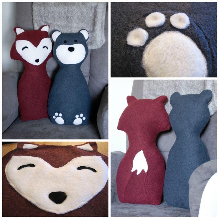 Fox & Bear Pillows #nursery #baby #diy #creativelyinclined