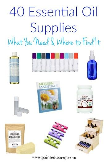 A full list of my favourite essential oils supplies & accessories! Essential oil containers, carrier oils, diy supplies, tools, books, storage & more!