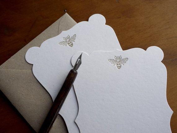 Vintage Honey Bee Letterpress Die Cut Note by PRINTforLOVEofWOOD