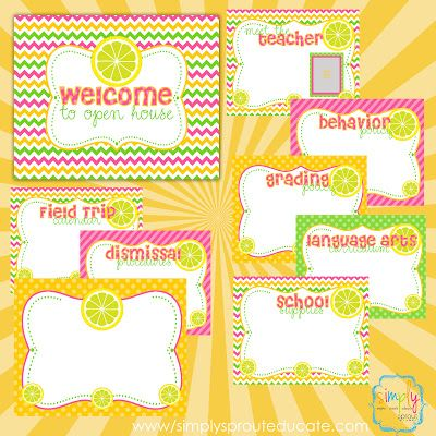 Pink Lemonade Classroom Design Kit Open House presentation for Back to school night ~ Simply Sprout