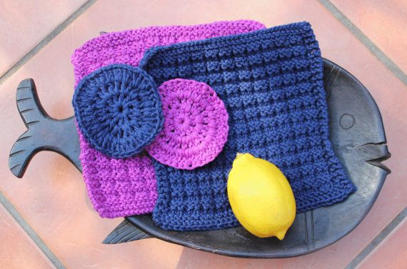 Hand knitted wash cloths  Cotton face cloth  Face by KennaInAfrica